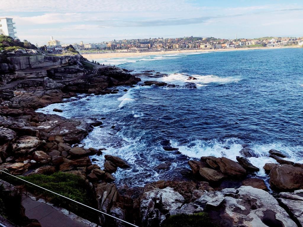 Fale rozbijające się o klify w Sydney