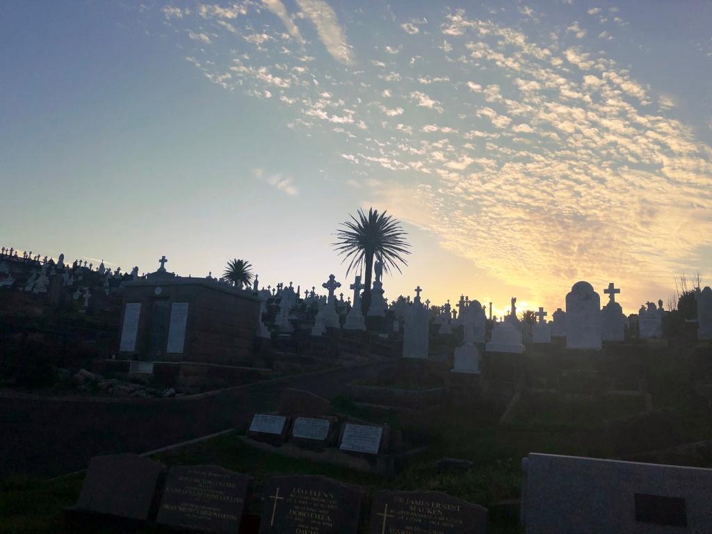 Zachód słońca na cmentarzu Waverly Cementary