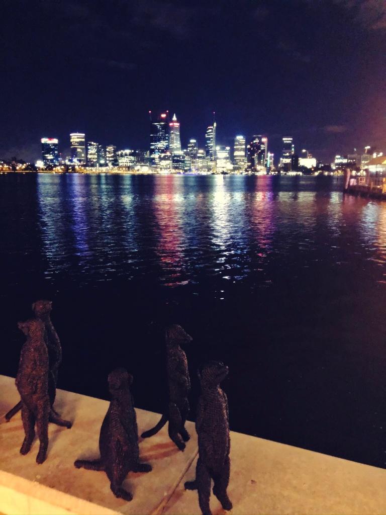 figury surykatek na tle rzeki nocą